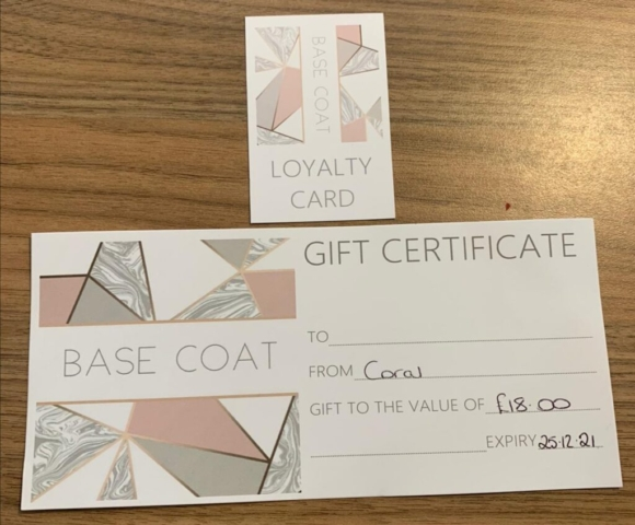 base coat loyalty card and gift certificate