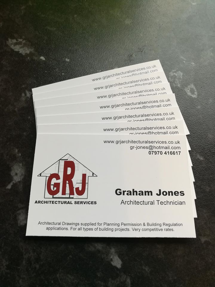 grj architectural services business card